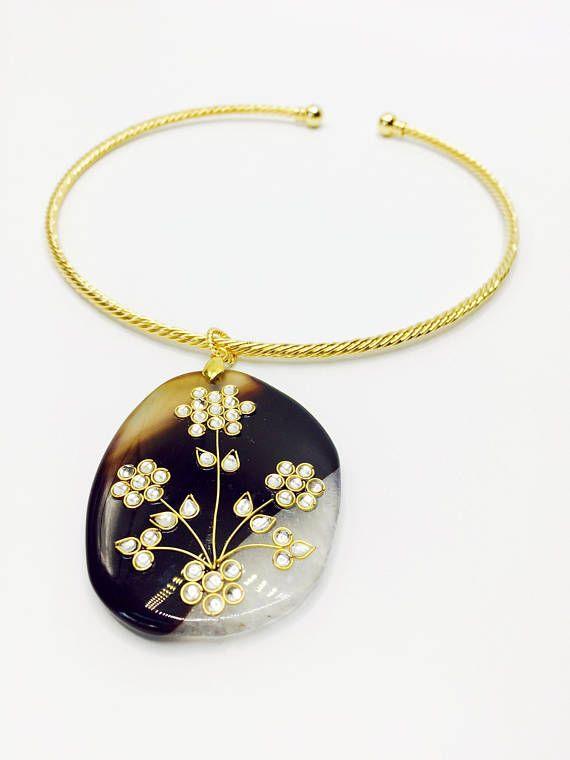 Flower Pendent Choker Gold Pendent Choker Flower Crystal