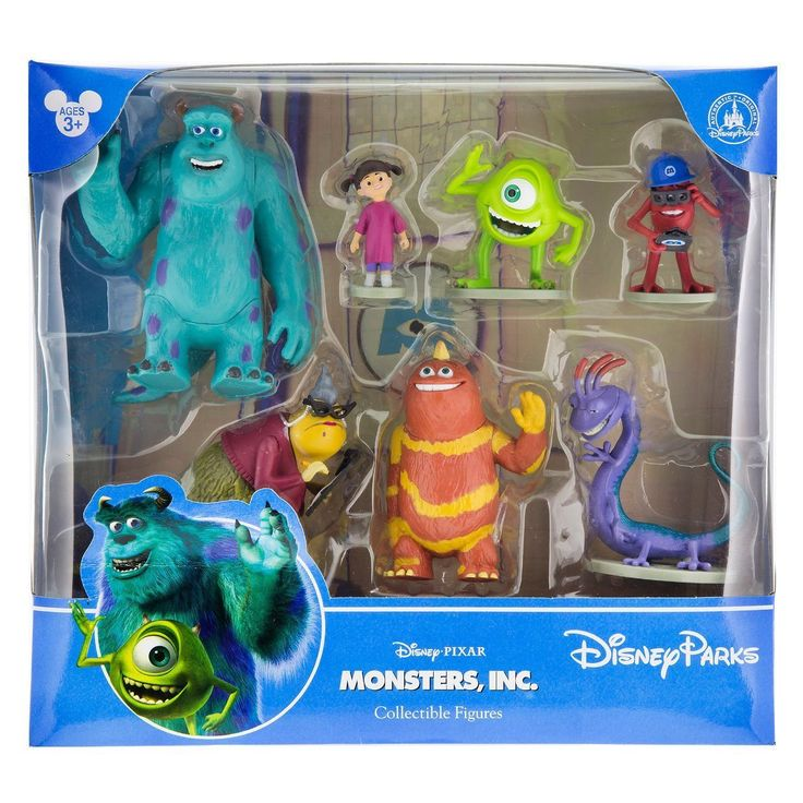 Mike, Sulley, Boo, Roz, Randall, George, & Fungus Ages 3+ PVC Up to 4 1/4'' H new with box