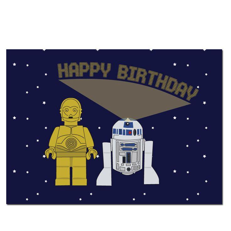 C3PO / R2D2 Lego Star Wars Birthday Card