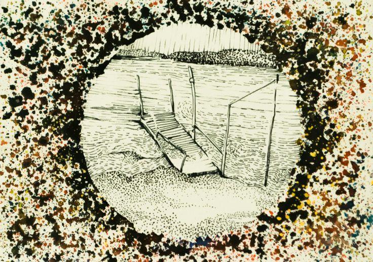 #bridge #sea #loneliness #ink #pen #pois #vintage