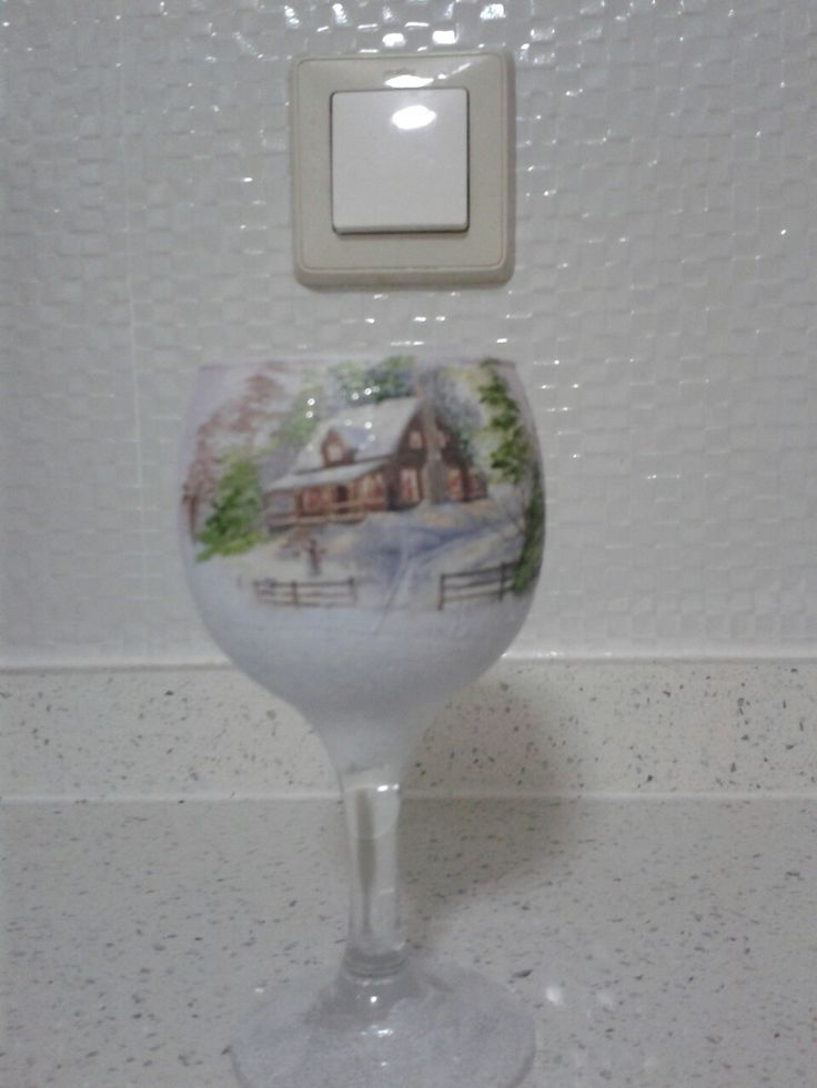 Decaupage and painted candle holder