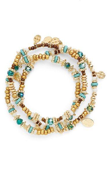 Sara Bella Beaded Stretch Bracelets (Set of 3) | Nordstrom