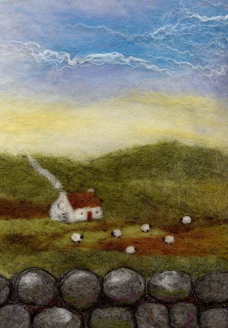 Felt Landscape    with hand dyed wool roving from North Ronaldsay, Orkney  12x17cm
