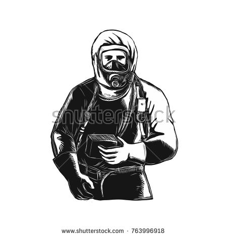 Scratchboard style illustration of an EMT,Emergency Medical Technician, firefighter, Paramedic, researcher,  Worker Wearing Hazmat Suit done on scraperboard on isolated background.  #paramedic #scratchboard #illustration