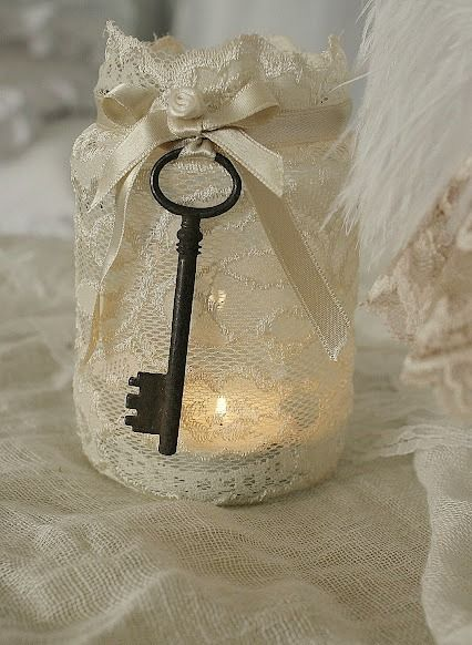 This idea would be cute along the aisle. Maybe with regular candles and this mason jar.