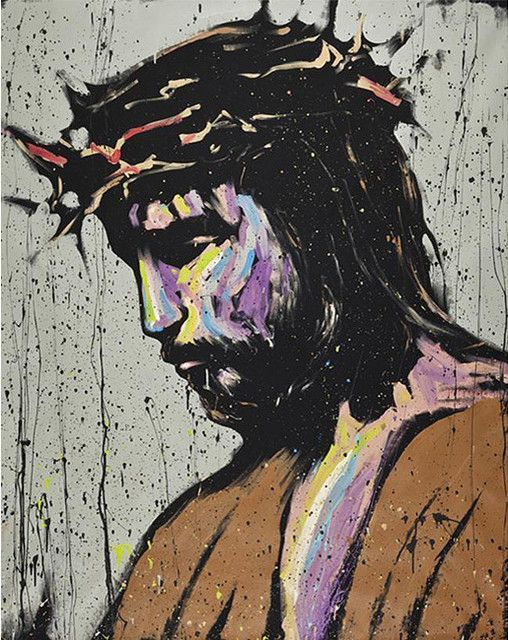 This is a contemporary painting that portrays the suffering that Jesus went through at the time