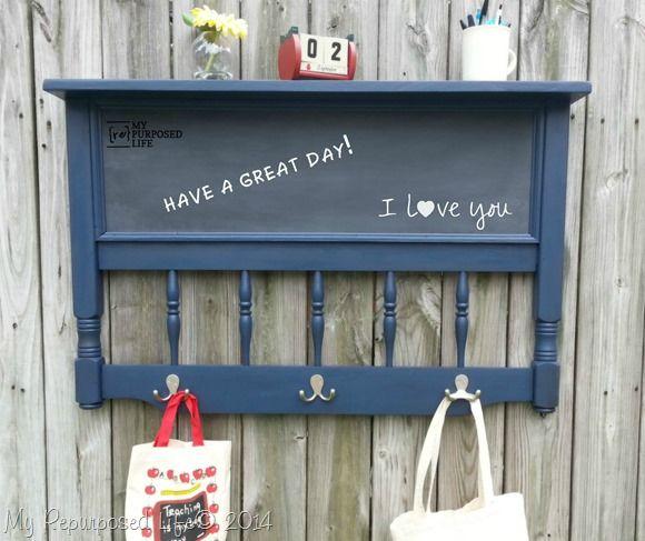 repurposed headboard chalkboard coat rack shelf