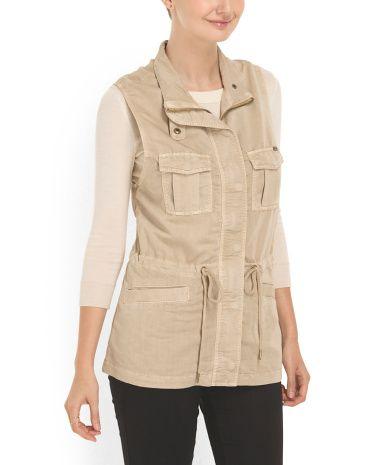 Fall fashion-Drawstring Waist Vest