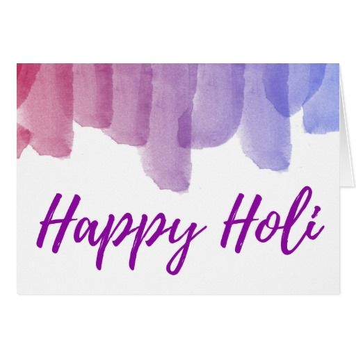 Modern Watercolors Playful Script Happy Holi Card #Happy #Holi #greeting #Card