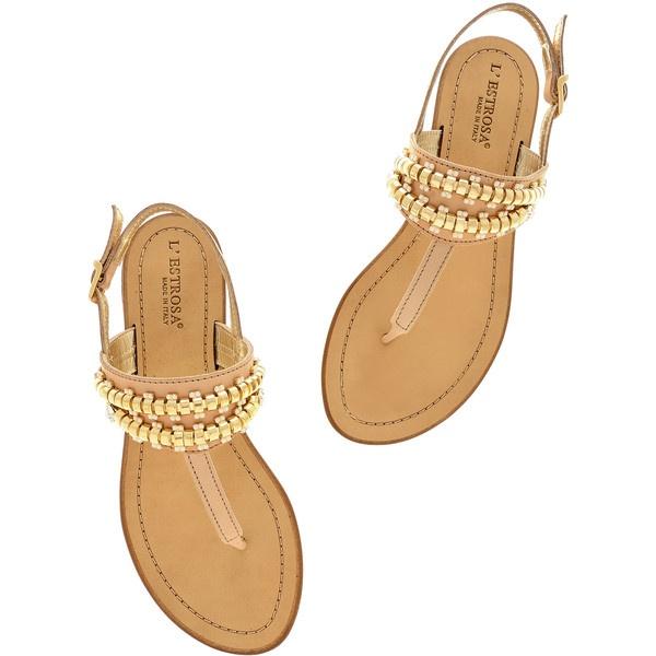 L'ESTROSA ABELIE Beige Crystal Sandals ($98) via Polyvore