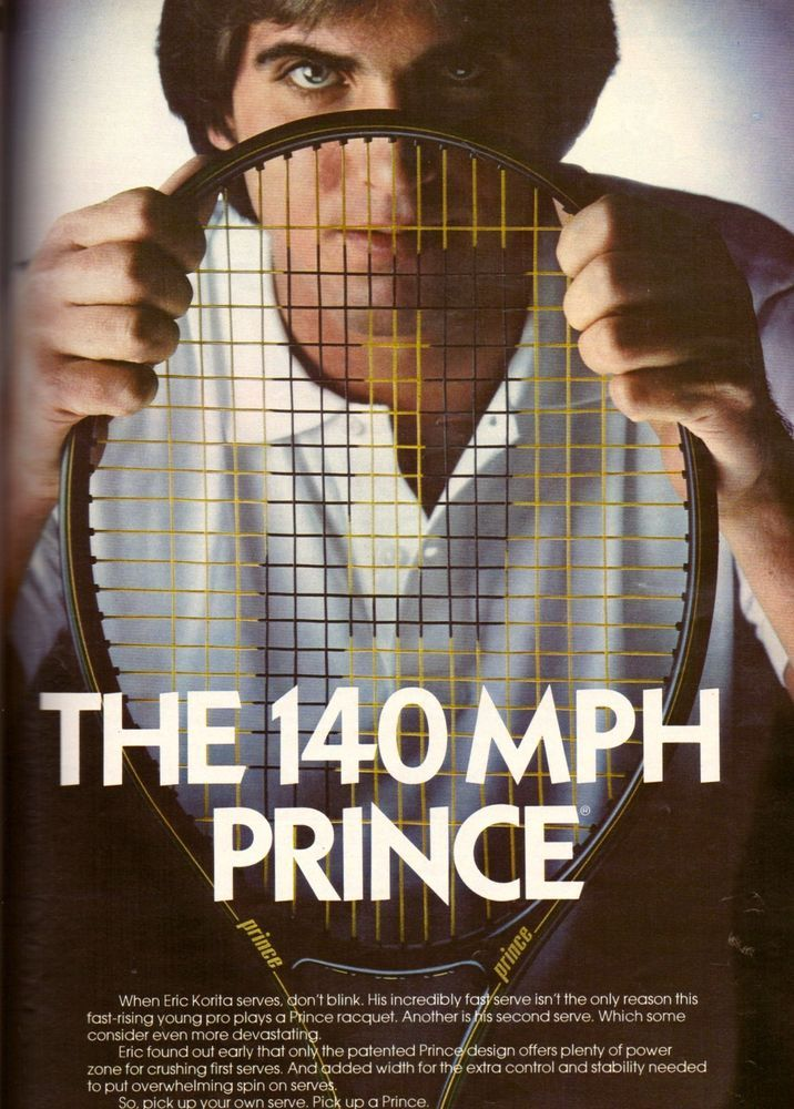 1984 Eric Korita for Prince Tennis Racket Print Advertisement Vintage Ad VTG 80s | eBay