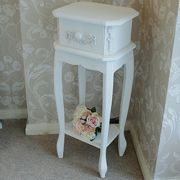 Pays Blanc Range - Antique White Slim 1 Drawer Bedside Table