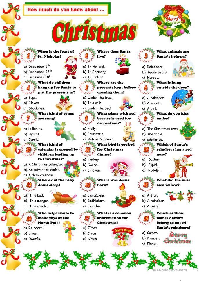 Christmas Quiz Christmas quiz, Christmas worksheets