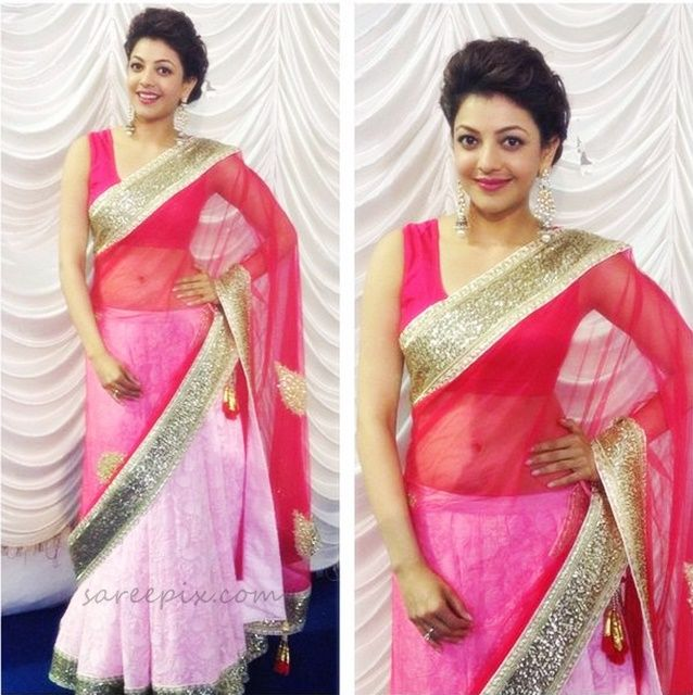 Indian diva Kajal agarwal latest half saree and saree photos posted by her on her Facebook page. The pear shaped beauty shown her assets in half saree feat