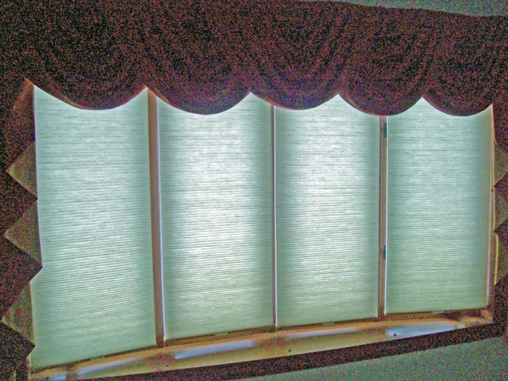 cordless cellular shades on 4 window bow window
