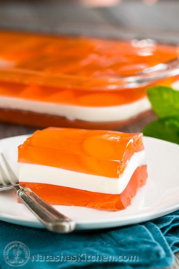 Peaches and Cream Layered Jello Recipe (with great video tutorial!) @natashaskitchen