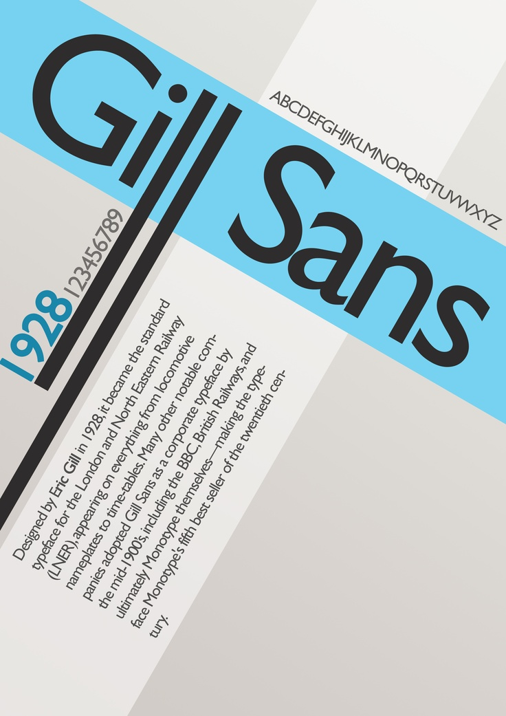 This is one of the six designs I have created for my typography project. I have decided to base it on the typeface 'Gill Sans'. The colours I have used are very calm, natural and easy on the eye. I have chosen to use lots of angles in this piece, making it very dynamic and exciting. There is more information within this design than there is on any other poster I have created.