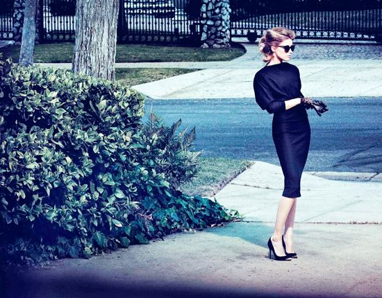 Amber Heard for The Edit Magazine   Dress by Bottega Veneta   Pumps by Alexander McQueen   Earrings by Ileana Makri   Sunglasses by Roland Mouret   Gloves by Lanvin