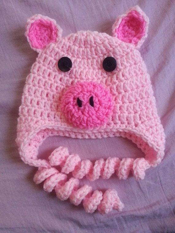 Crochet Pattern Pig Hat : Adorable Pig Earflap Crochet Hat Piggy Hat Pinterest