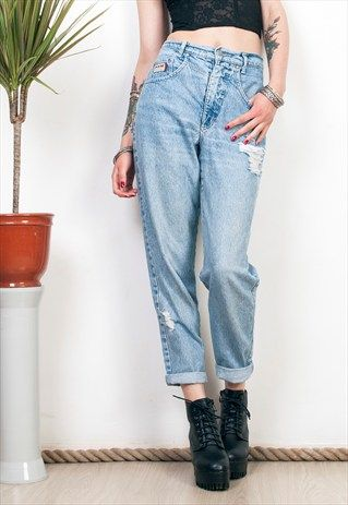 DISTRESSED MOM JEANS 80S HIGH WAISTED CARROT DENIM PANTS
