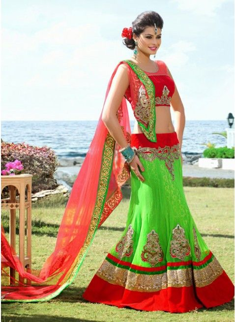 Fascinating Lime Green & Red Color Net Based #Lehenga #Choli