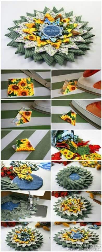 Flor reutilizando retalhos de tecidos