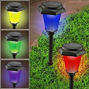 color changing lights illuminate your garden or walkway with a rainbow of colors
