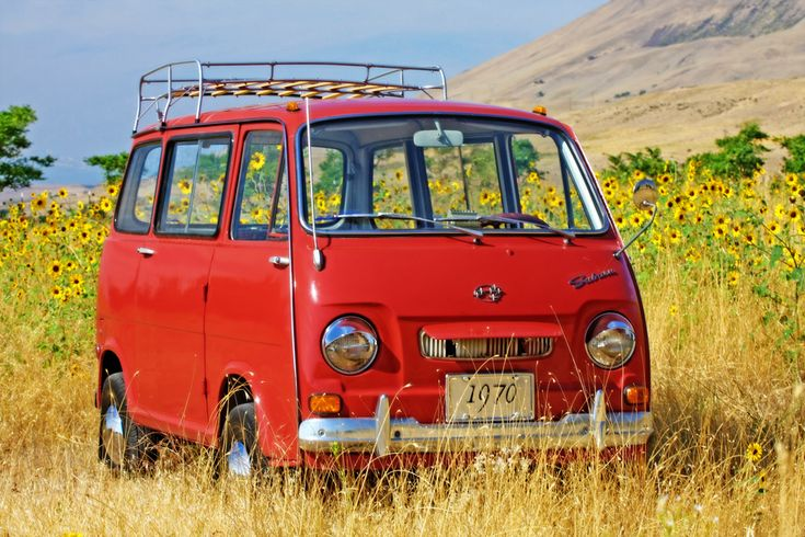 """This is """"Stanley"""" - my 1970 Subaru Van Stanley likes to find pretty places to pose for portraits =) He loves the camera! Stanley is a 2-stroke, inline 2-cylinder, rear engine, air cooled - super cool - micro van. He's pretty awesome!"""