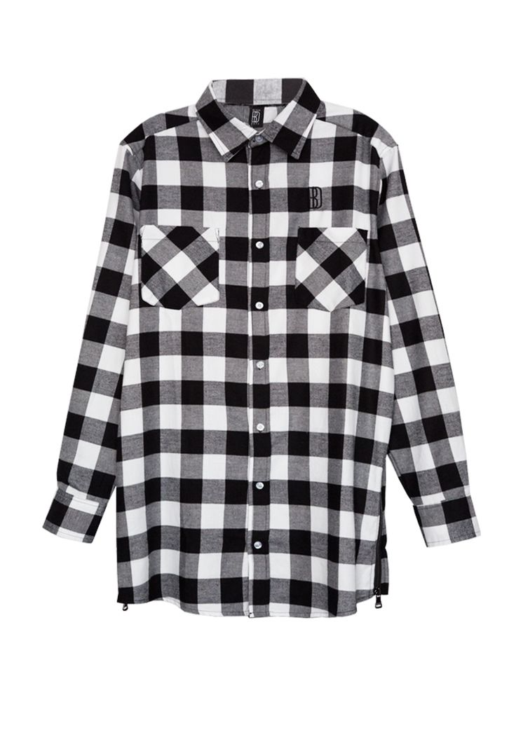 FLANELL SHIRT ZIPPER LONG BLACK/WHITE