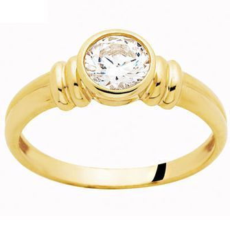 Cubic Zirconia Ring - Bezel Setting - BEE-22017-CZ