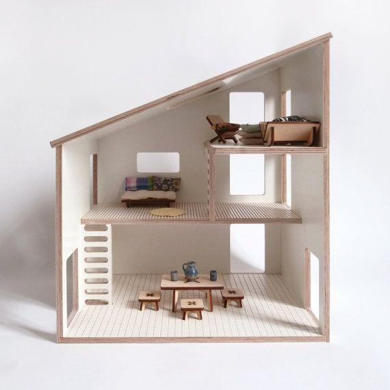 maison de poupée en contre plaqué filmé blanc / par MilkyWood #DifferenceMakesUs  @etsyfr