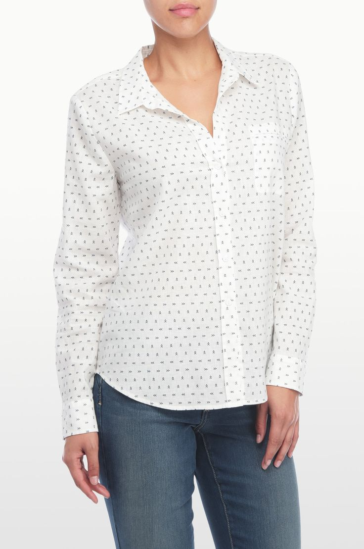 NYDJ's Printed long Sleeve button up shirt with a Colmar arrow print. Pair this flattering silhouette with your favorite NYDJ's for a stylish everyday look.
