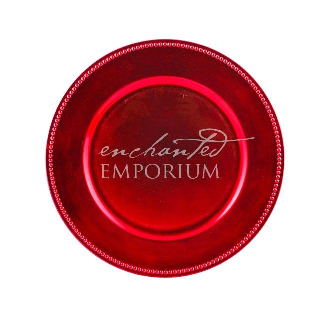 Red Beaded Charger Plate, Enchanted Emporium