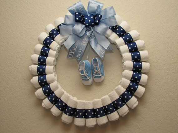 Make Baby Door Wreaths | Large baby Boy Diaper Wreath by blissfulbunchesbyb2 on Etsy