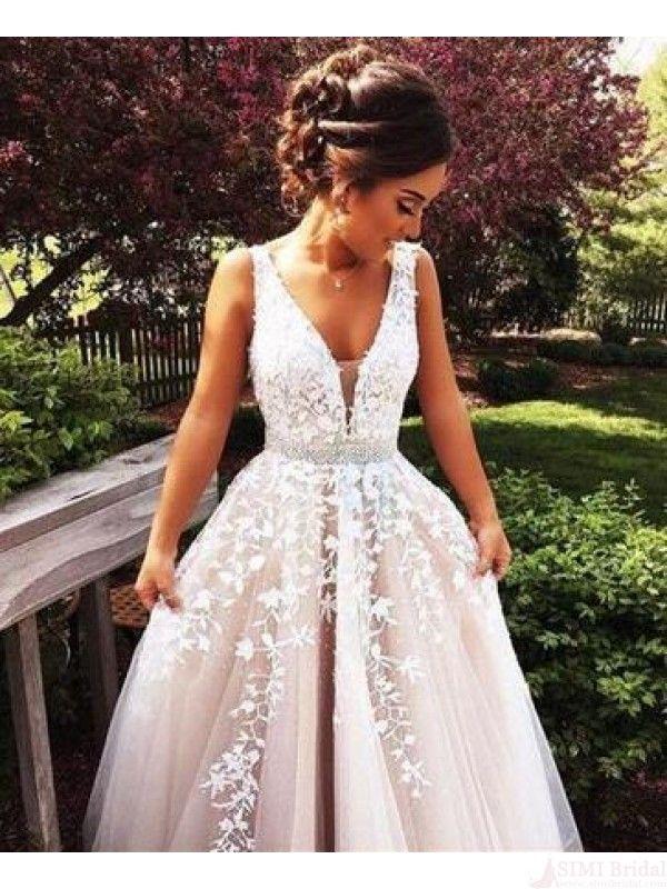 applique long prom dresses #SIMIBridal #promdresses