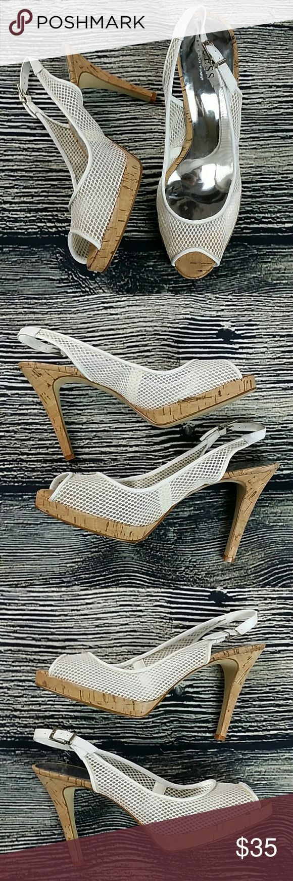 "GUESS MARCIANO GWMIRACLE High heels 9 white GUESS MARCIANO GW MIRACLE High Heel Cork Platform Heels white Mesh Slingbacks Pumps 9M Heel height 4.5"" C2 Guess by Marciano Shoes Platforms"