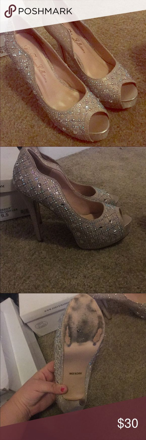 Homecoming/prom shoes Only worn once. They are gorgeous and sparkle in the light. The base color is nude with silver gems. Size 9. Shoes Heels