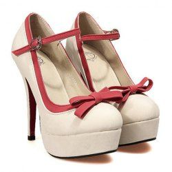 Sweet Women's Pumps With Bowknot and Color Matching Design