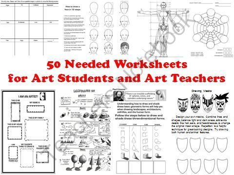 50 Needed Worksheets for Art Students and Art Teachers from The Art Teacher on TeachersNotebook.com (61 pages)  - This 61 page Word Document contains 50 (plus a bonus one…51!) much needed worksheets, tests, handouts, lists and more that every art teacher should have in their classroom.   After years of searching for just the right visuals to use, and after making cou