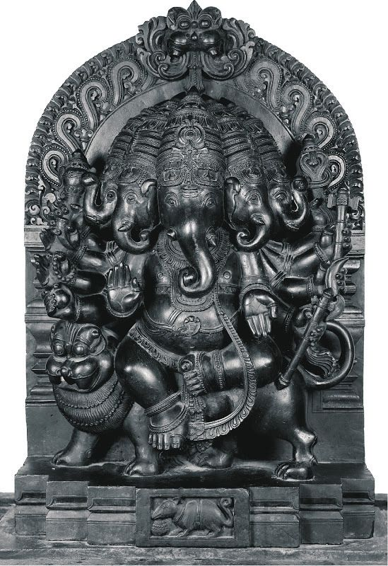 "Heramba, Panchamukha Ganesha. Used as an epithet of Ganesha in the Ganesha Purana.[3] The Brahma vaivarta Purana explains the meaning of Heramba: the syllable ""He"" denotes helpnessless or weakness, while ""Ramba"" is protection of the weak, to save them from harm; thus Heramba means the ""Protector of the weak""."