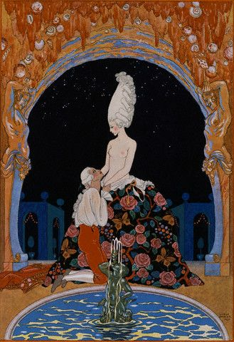 Framing in art. This image is an illustration by Georges Barbier.