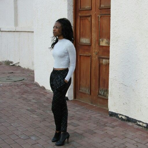 joggers and cropped turtle neck top