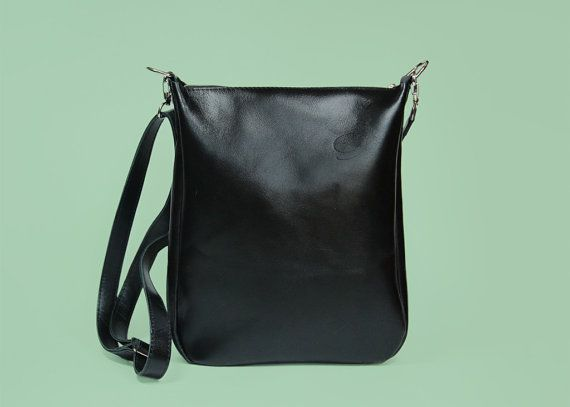 Black Leather Crossbody Bag with Zipper Joey Black by ARadaStore