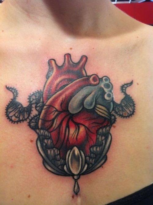 Tattoo artist Vale Lovette: Tattoo Ideas, Awesome Tattoo, Tattoo Artists, Artists Vale, Tattoo'S, Anatomical Heart Tattoos, Pretty Tattoo, Vale Lovett, Tattoo Chest
