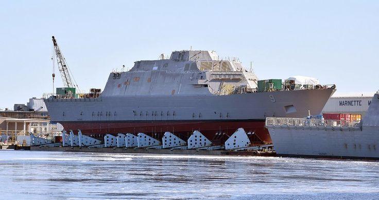 LCS-9, the future USS Little Rock, awaits launch. Lockheed Martin photo