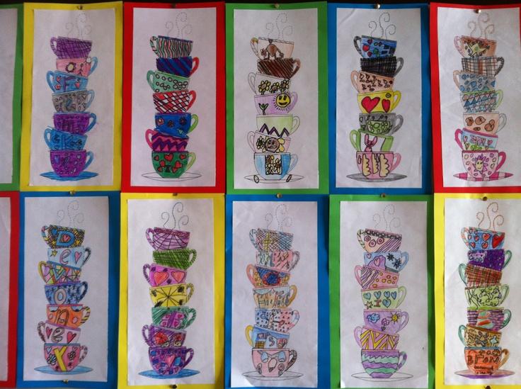 Theetijd: De leerlingen tekenen theekopjes in hun eigen stijl. Je kan ook de opdracht geven met in een bepaalde teken-/ kunststijl.