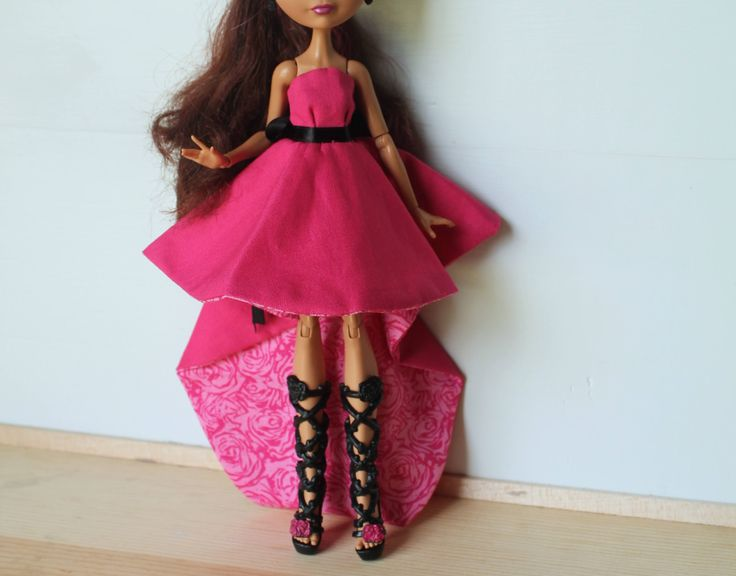 Pink Rose High Low Skirt Dress for Ever After or Monster Doll by CecietCette on Etsy
