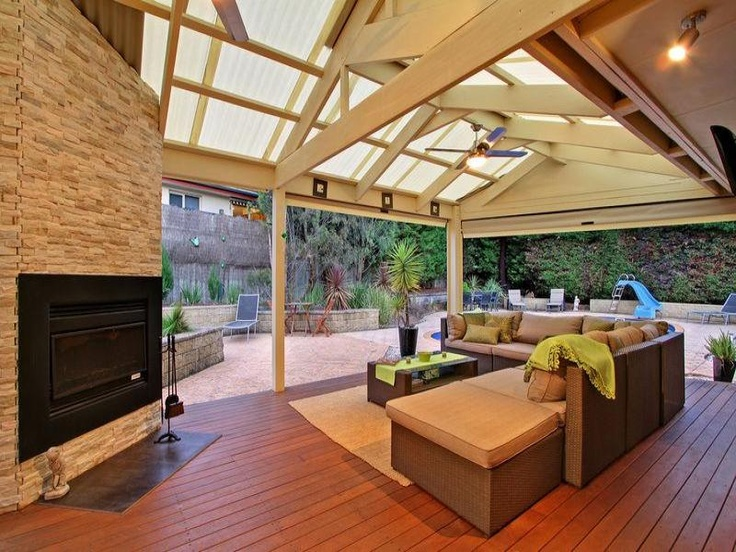 outdoor pergola roof and lounge + fireplace