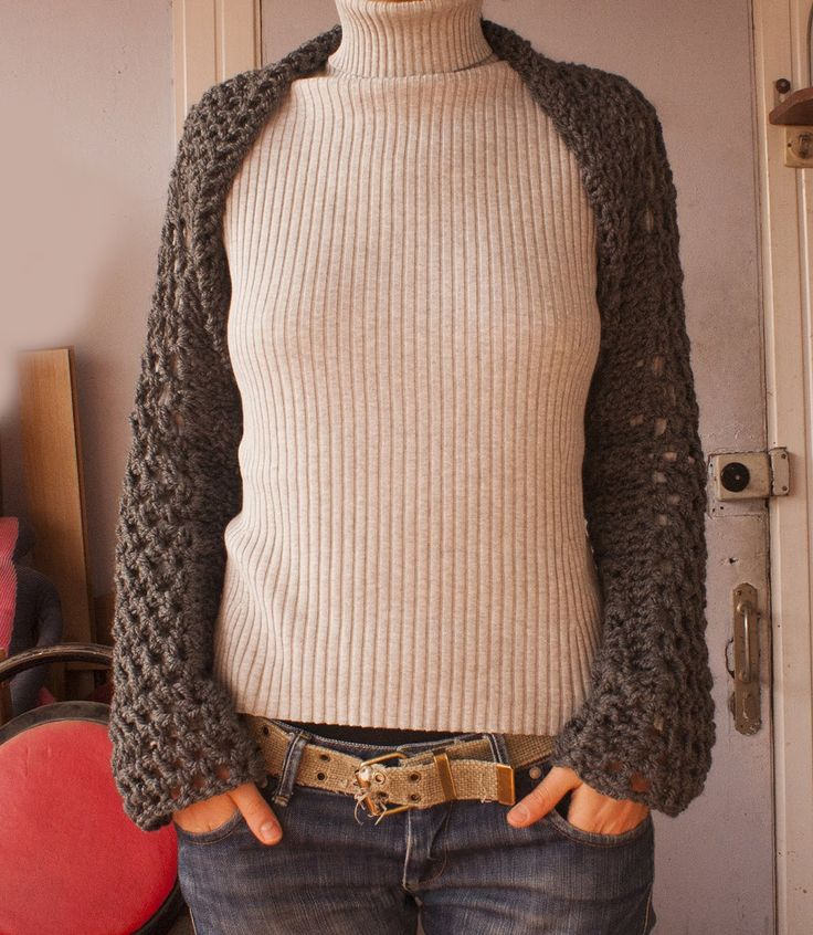 This is a shrug pattern that uses double crochet stitch. The shrug can be worn as a cover up when you're cold but then converted to a scarf if desired. Mater...