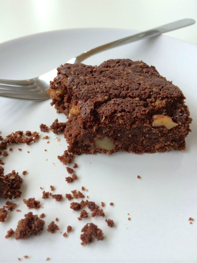 Pure chocolade brownie, glutenvrij, suikervrij en lekker!